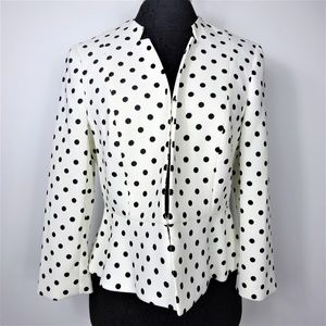 Nine West Peplum Blazer Jacket Polka Dots